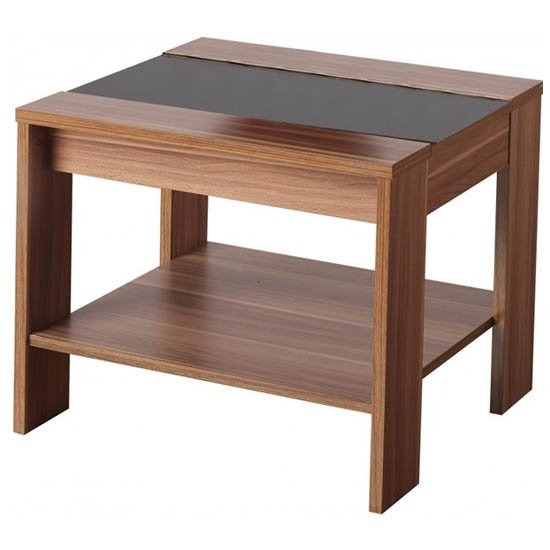 Sirius Black Glass Top End Table In Walnut With 1 Drawer Buy Modern Telephone Table Furniture