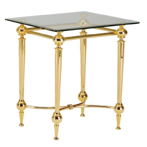 Bonn End Table Square In Glass Top With Gold Plated Metal Frame