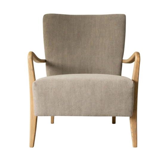 Chedworth Linen Armchair In Charcoal With Oak Wooden Legs