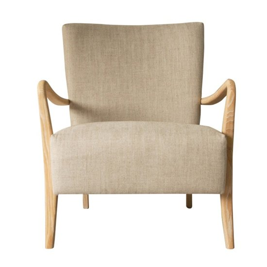 Chedworth Linen Armchair In Natural With Oak Wooden Legs