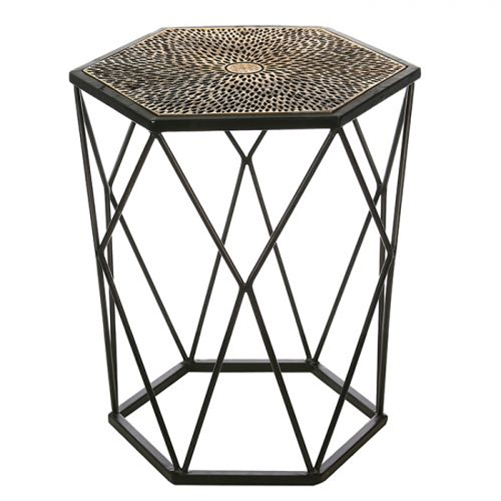 Cheetah Aluminium Side Table In Antique Black And Gold