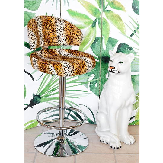 Cheetah Fabric Casino Bar Stool With Chrome Base