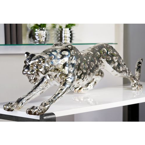 Cheetah Poly Sculpture In Antique Silver