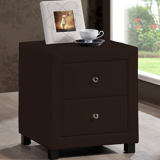 Chelsea Faux Leather Bedside Cabinet In Brown With 2 Drawers