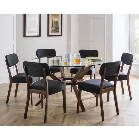 Chelsea Large Dining Set In Walnut With 6 Farringdon Chairs