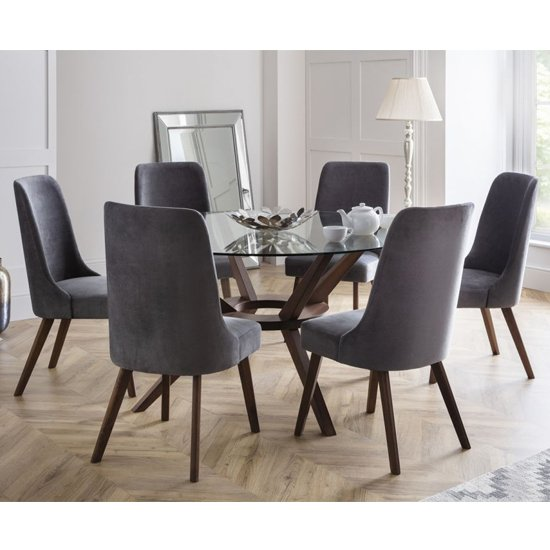 Chelsea Large Glass Dining Set With 6 Huxley Dusk Grey Chairs