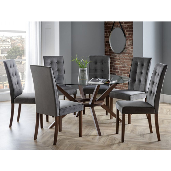 Chelsea Large Glass Dining Set With 6 Madrid Grey Chairs