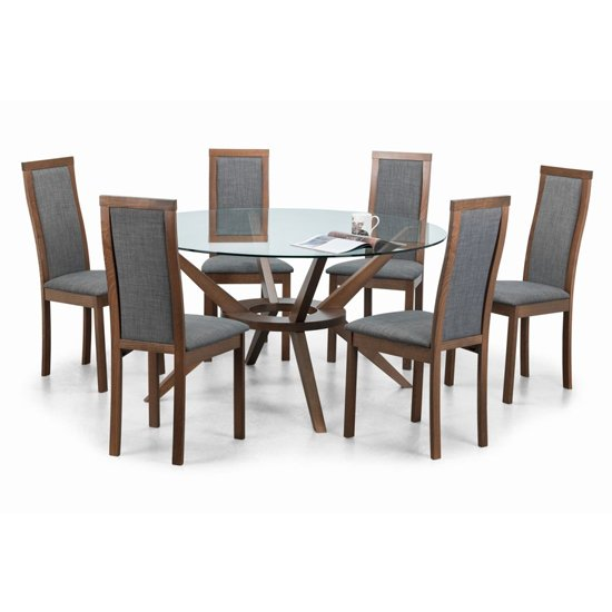 Chelsea Large Glass Dining Set With 6 Melrose Slate Grey Chairs_2