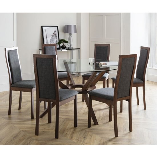 Chelsea Large Glass Dining Set With 6 Melrose Slate Grey Chairs_1