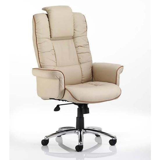 View Chelsea leather executive office chair in cream with arms