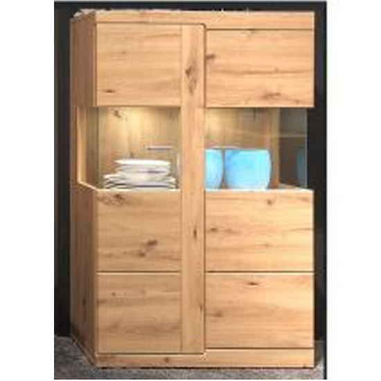 Chelsea LED Display Cabinet With Glass Shelves In Artisan Oak_1