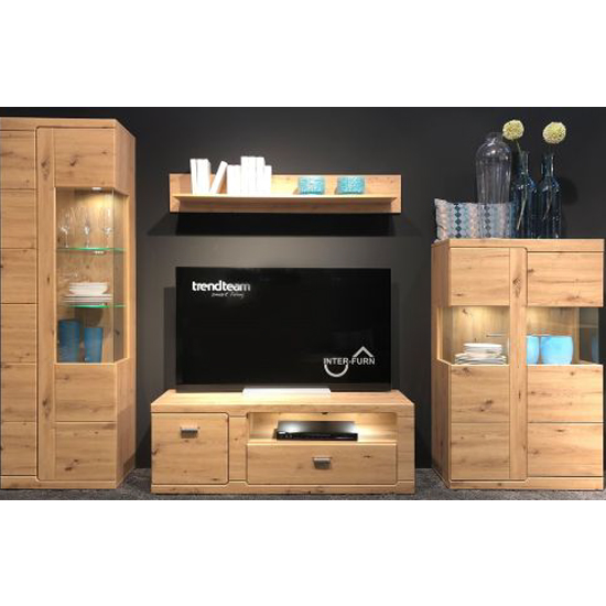 Chelsea LED Living Room Furniture Set In Artisan Oak