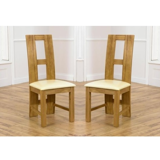 Chelsea Dining Chair In Cream PU With Oak Frame In A Pair