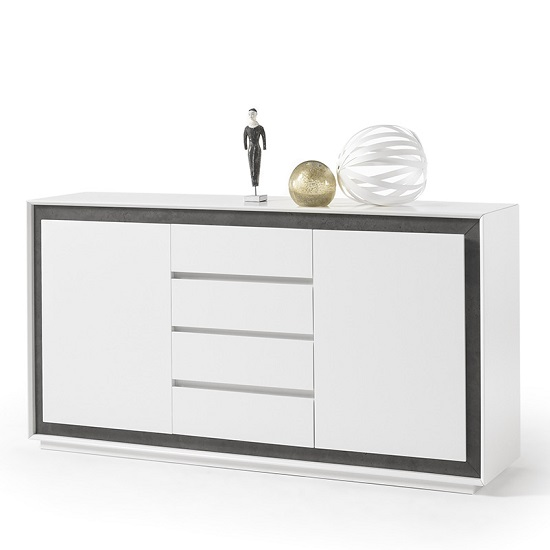 Chelsea Contemporary Sideboard In White With Concrete Inserts_1
