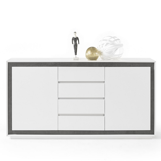 Chelsea Contemporary Sideboard In White With Concrete Inserts_3