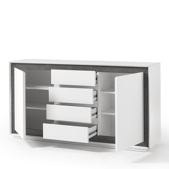 Chelsea Contemporary Sideboard In White With Concrete Inserts_2