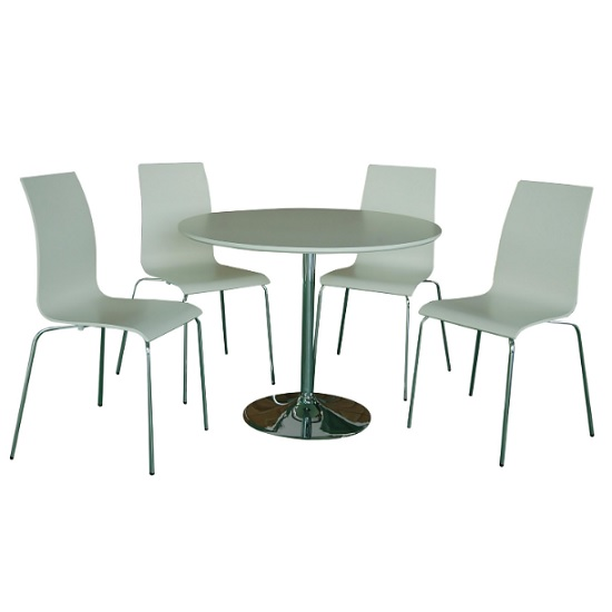 Chelsey Wooden Dining Table Round In Matt White With 4 Chairs