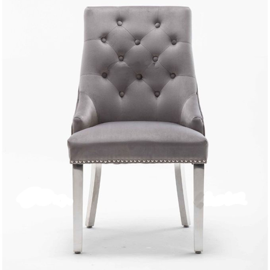 Chelsi Velvet Upholstered Dining Chair In Light Grey