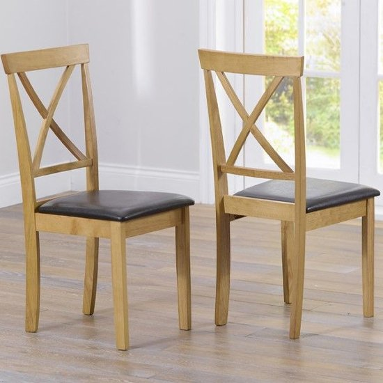Chartin Dark Brown Leather Seat Dining Chairs In Pair