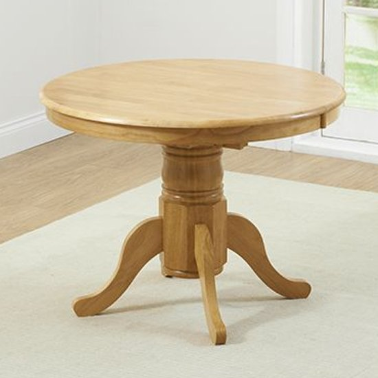 Chartin Extending Round Wooden Dining Table In Oak