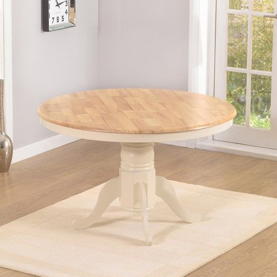 Chartin Round Wooden Dining Table In Oak And Cream_2
