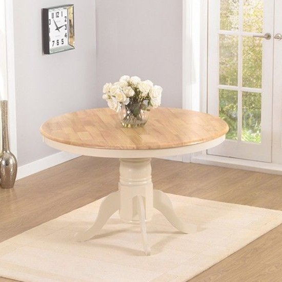 Chertan Round Wooden Dining Table In Oak And Cream