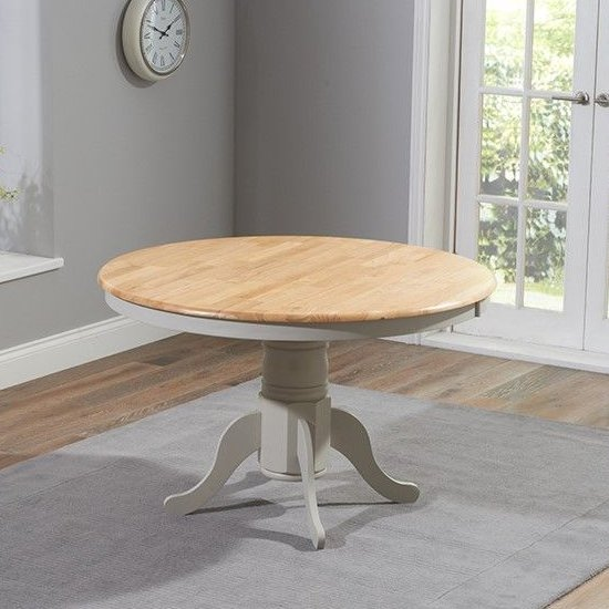 Chertan Round Wooden Dining Table In Oak And Grey_2