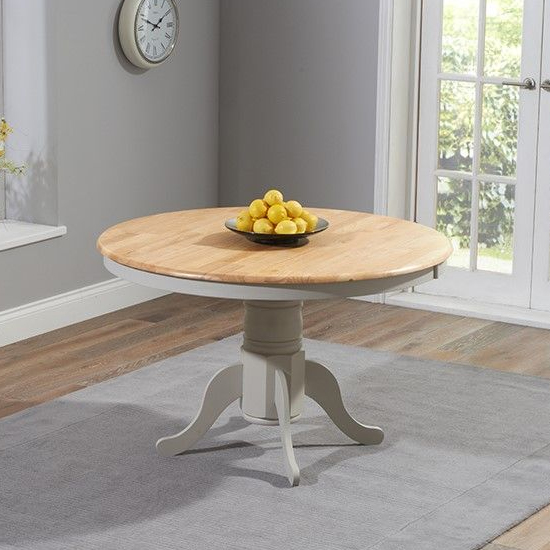 Chertan Round Wooden Dining Table In Oak And Grey