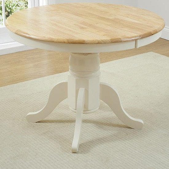 Chartin Wooden Extending Dining Table In Oak And Cream_2