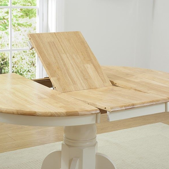 Chartin Wooden Extending Dining Table In Oak And Cream_4