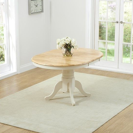 Chertan Wooden Extending Dining Table In Oak And Cream