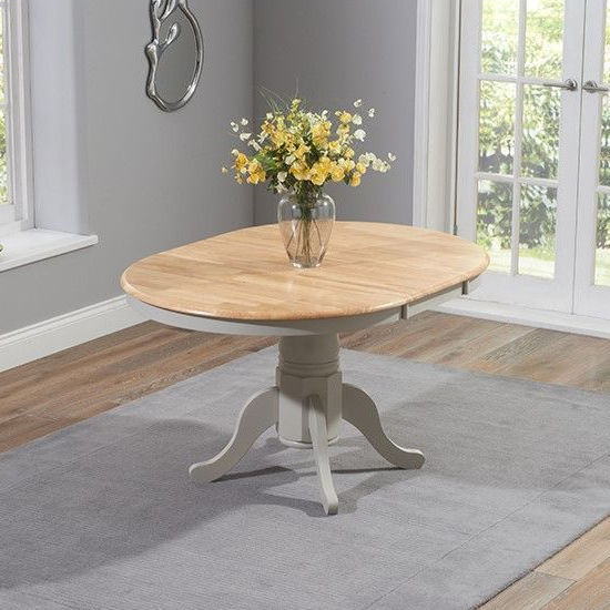 Chertan Wooden Extending Dining Table In Oak And Grey