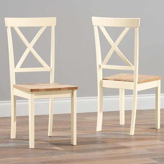 Chertan Wooden Oak And Cream Dining Chairs In Pair_1