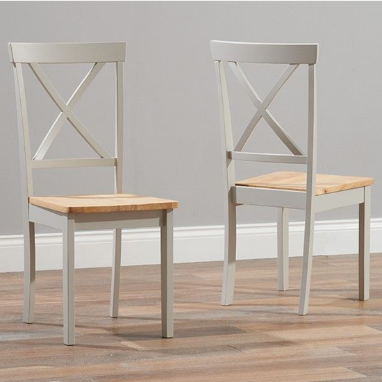 Chertan Wooden Oak And Grey Dining Chairs In Pair