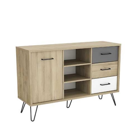 Chervil Contemporary Sideboard In Kronberg Oak And Pearl White