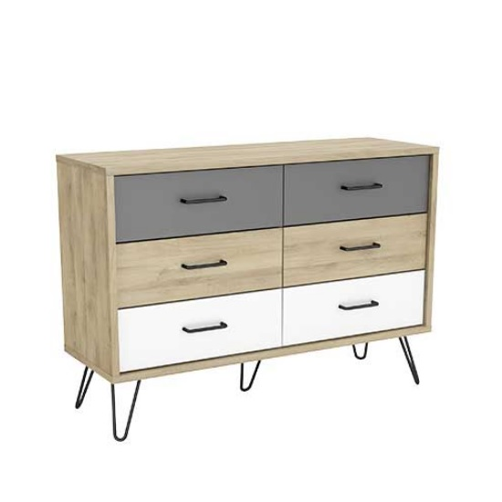 Chervil Chest Of Drawers Wide In Kronberg Oak And Pearl White
