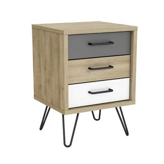 Chervil Bedside Cabinet In Kronberg Oak And Pearl White