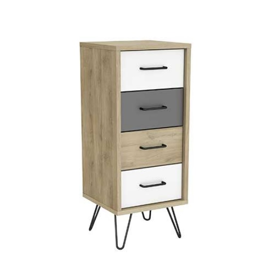 Chervil Chest Of Drawers Narrow In Kronberg Oak And Pearl White