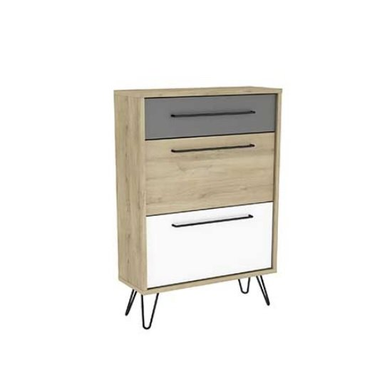 Chervil Shoe Storage Cabinet In Kronberg Oak And Pearl White
