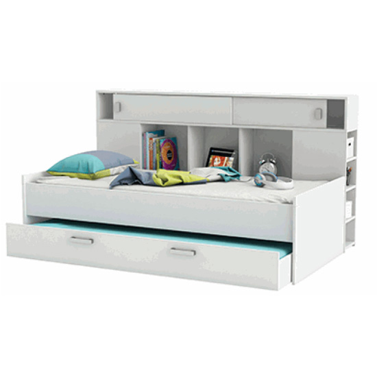 Cherwood Overhead Storage Single Bed In Matt White With Drawers_2