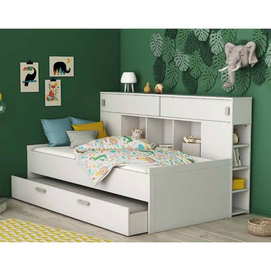 Cherwood Overhead Storage Single Bed In Matt White With Drawers_1
