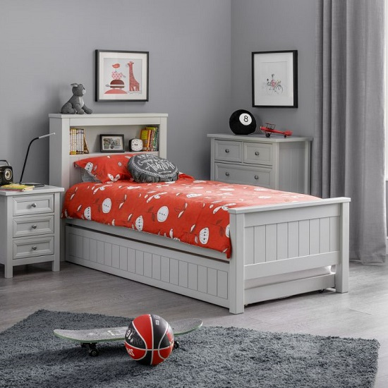 Cheshire Bookcase Bed With Underbed In Dove Grey Lacquer