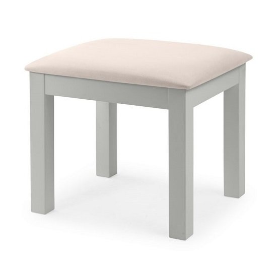 View Cheshire dressing stool in dove grey lacquer finish