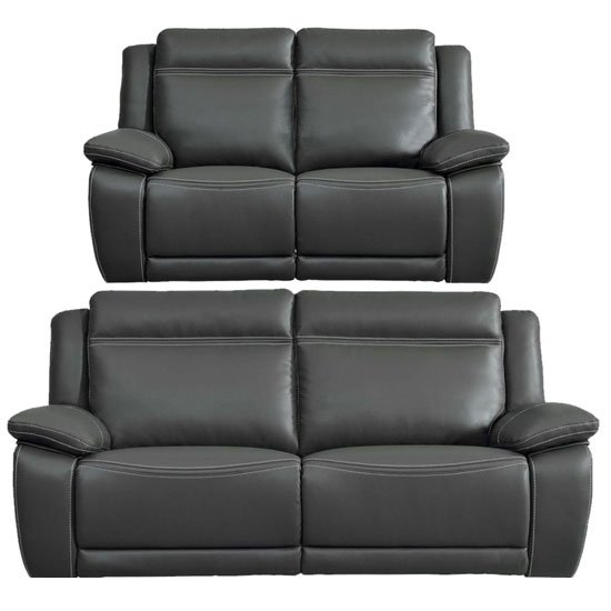 Cheshire Leather 3 And 2 Seater Sofa Suite In Dark Grey_1