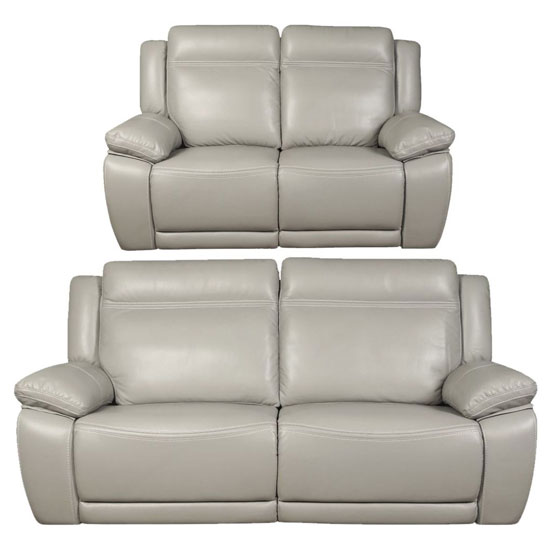 Cheshire Leather 3 And 2 Seater Sofa Suite In Light Grey_1