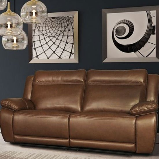 Cheshire Leather 3 Seater Recliner Sofa In Tan