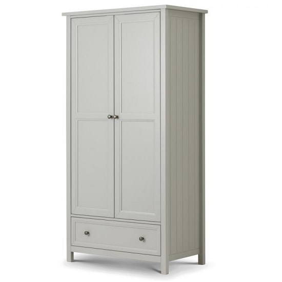 Cheshire Wooden Wardrobe In Dove Grey Lacquer With 2 Doors