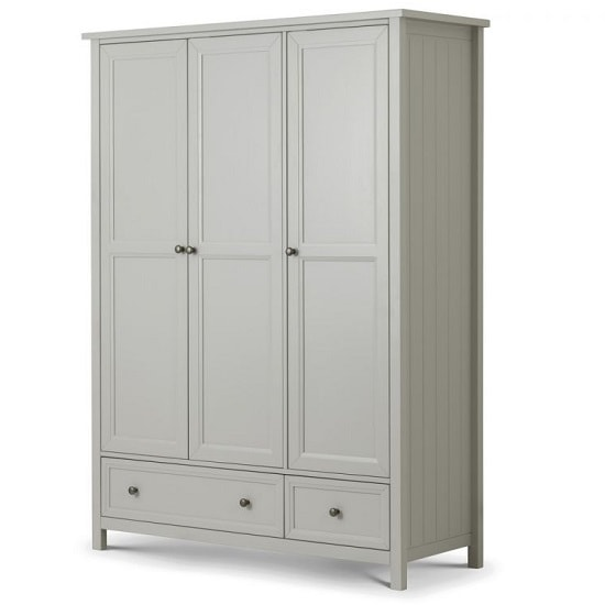 Cheshire Wardrobe Wide In Dove Grey Lacquer With 3 Doors