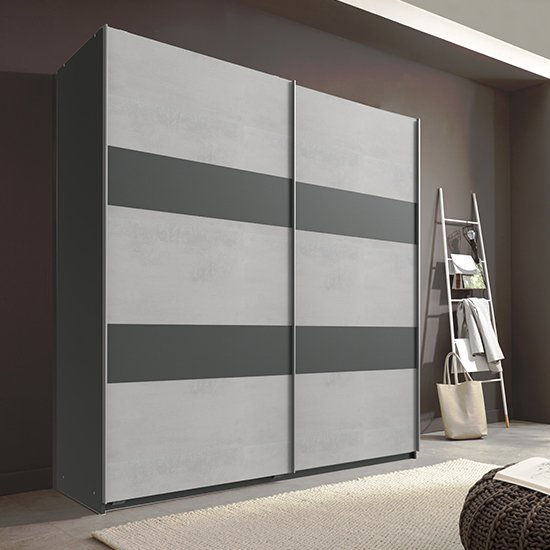 Chess Sliding Door Wooden Wardrobe In Light Grey And Graphite