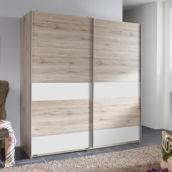 Chess Sliding Door Wooden Wardrobe In San Remo Oak Effect
